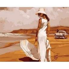 "Картина по номерам раскраска ""Прогулка по пляжу"""