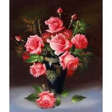 """Картина по номерам раскраска """"Пышные розы"""""""