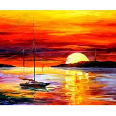 """Картина по номерам раскраска """"Морской закат"""""""