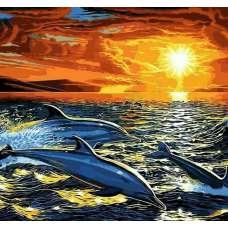 """Картина по номерам раскраска """"Стая дельфинов"""""""