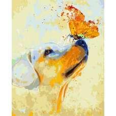 """Картина по номерам раскраска """"Бабочка на носу"""""""
