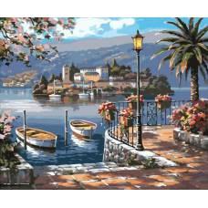 """Картина по номерам раскраска """"Лестница к лодкам"""""""