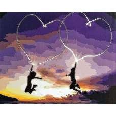 """Картина по номерам раскраска """"Два сердца"""""""