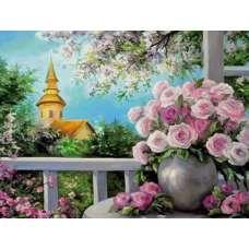 """Картина по номерам раскраска """"Розы на балконе"""""""