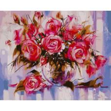 """Картина по номерам раскраска """"Ваза роз"""""""