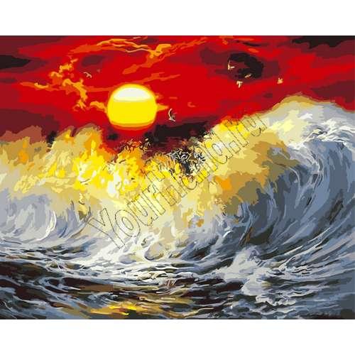 "Картины по номерам, раскраска холст ""Шторм и солнце ..."