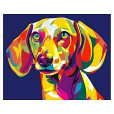 """Картина по номерам раскраска """"Радужный пес"""""""