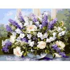 """Картина по номерам раскраска """"Букет цветов"""""""