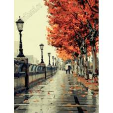 "Картина по номерам раскраска ""Осенняя аллея"""