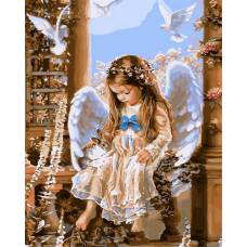 "Картина по номерам раскраска ""Ангелок и голуби"""