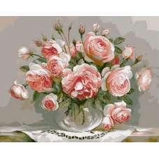 """Картина по номерам раскраска """"Кремовые розы"""""""