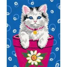 """Картина по номерам раскраска """"Котик в горшочке"""""""