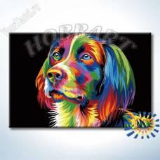 """Картина по номерам раскраска """"Радужный пёс"""""""
