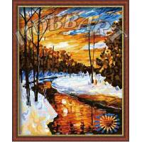 """Картина по номерам раскраска """"Зимний ручей"""""""
