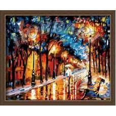 """Картина по номерам раскраска """"Дождь в парке"""""""