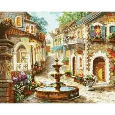 """Картина по номерам раскраска """"Городской фонтан"""""""