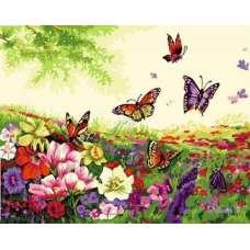 """Картина по номерам раскраска """"Поле бабочек"""""""