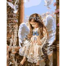 """Картина по номерам раскраска """"Ангелочек в белом"""""""
