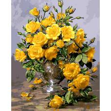 """Картина по номерам раскраска """"Букет желтых роз"""""""