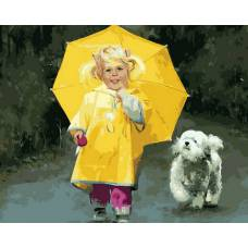 """Картина по номерам раскраска """"Девочка в желтом"""""""