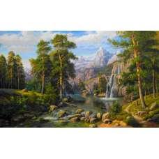"Картина по номерам раскраска ""Пейзаж с горами"""