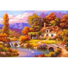 "Картина по номерам раскраска ""Домик у реки"""