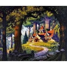 """Картина по номерам раскраска """"Домик в лесу"""""""