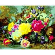 "Картина по номерам раскраска ""Цветы на лугу"""