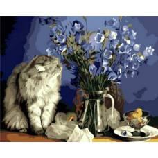 "Картина по номерам раскраска ""Котик и букет"""