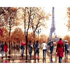 """Картина по номерам раскраска """"Прогулка в Париже"""""""