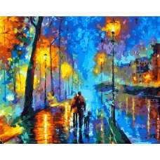 """Картина по номерам раскраска """"Прогулка с собакой"""""""