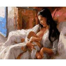 """Картина по номерам раскраска """"Мать и дитя"""""""