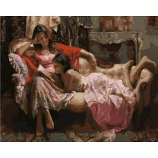 """Картина по номерам раскраска """"Мама и дочка"""""""