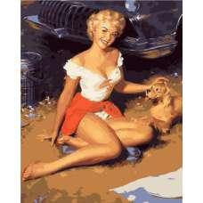 """Картина по номерам раскраска """"Дама с собачкой"""""""