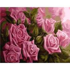 """Картина по номерам раскраска """"Розы в розовом"""""""