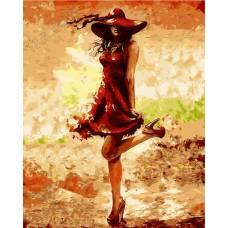 """Картина по номерам раскраска """"Девушка в красном"""""""