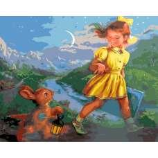 """Картина по номерам раскраска """"Зайка с фонариком"""""""