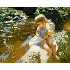 "Картина по номерам раскраска ""Девочка у реки"""