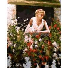"Картина по номерам раскраска ""Девушка в цветах"""