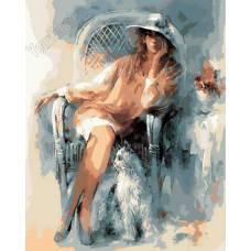 """Картина по номерам раскраска """"Девушка в шляпке"""""""