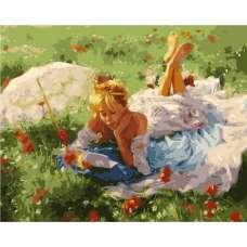 """Картина по номерам раскраска """"Девушка на поляне"""""""
