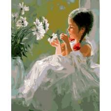 """Картина по номерам раскраска """"Девочка и цветы"""""""