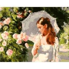 """Картина по номерам раскраска """"Девушка под зонтом"""""""