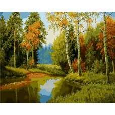 "Картина по номерам раскраска ""Лес у реки"""