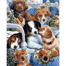 "Картина по номерам раскраска ""Милые щенята"""