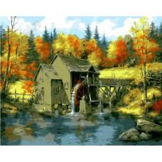 """Картина по номерам раскраска """"Домик у пруда"""""""