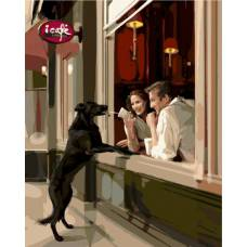 "Картина по номерам раскраска ""Собака у кафе"""