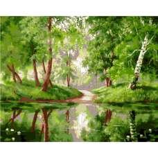 """Картина по номерам раскраска """"Озеро в лесу"""""""