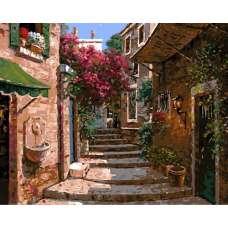 "Картина по номерам раскраска ""Цветочная лестница"""