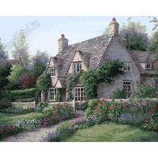 """Картина по номерам раскраска """"Домик в саду"""""""